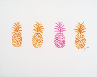 Pineapple Painting, Fruit Art, Watercolor Pineapple Art, Original Watercolor Pineapple, Pineapple Wall Decor, Abstract Pineapple Art