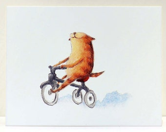 SALE - Smiles on Wheels Cat Greeting Card