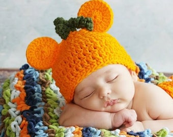 RUSH my  Mouse Ears Pumpkin Hat with stem Girl or Boy Many Sizes preemie newborn, 0-3 month,3-6 month,6-12 month,1-3 yr Fall Harvest