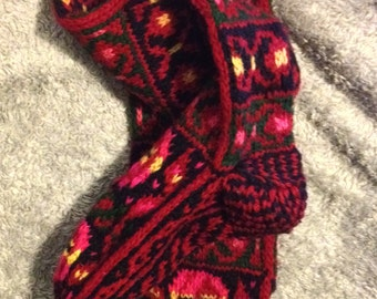 Knitted Wool Red/Colorful Tall Slippers