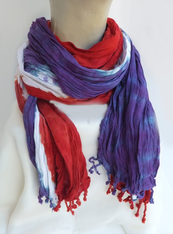 "Red Hat Lady scarf - crinkle scarf - large scarf - rayon scarf - red and purple - hand dyed - 20"" x 72"""