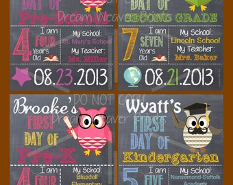 personalized chalkboard art printable sign first day of school grade custom 2017