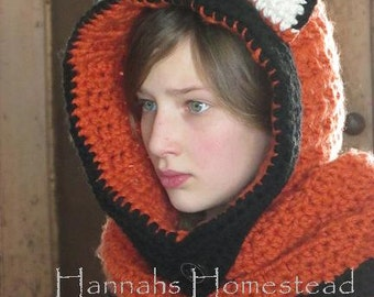 Free Crochet Fox Cowl Hat Pattern : Fox Hood, Baby, Toddler, Child, Adult, Crochet, Orange ...