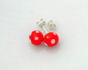 Red glass earrings