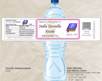Baptism Labels, Holy Water Bottle, Waterproof Label, Personalized Water Bottle, First Holy Communion, Christening Labels (Set of 20)(Y226)