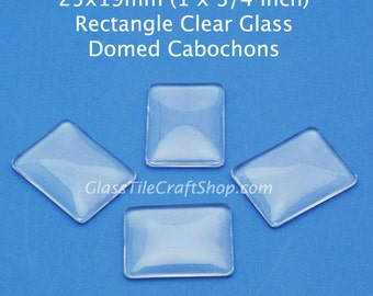 20 Rectangle Glass Cabochons - 25x19mm clear glass domed tiles for earrings, pendants, charms. (25X19RTD)