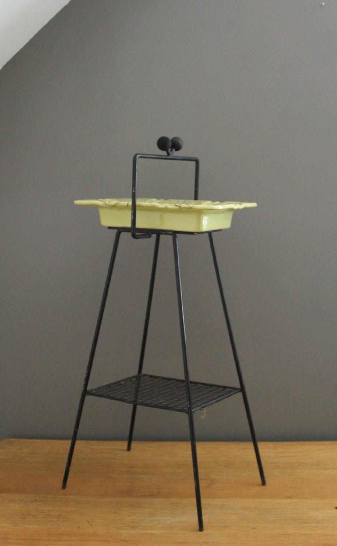 1950s Metal Ashtray Stand Tray Atomic Age Eames Era