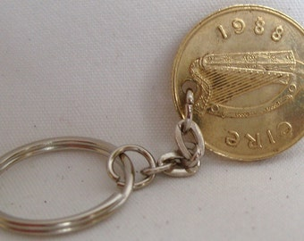 1988 Old Large 20p Twenty Pence Irish Coin Keyring Key Chain Fob 30th Birthday