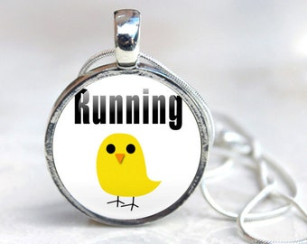 Running Jewelry - Running Necklace, Running Glass Pendant, running chick, Running Gifts (running 5)