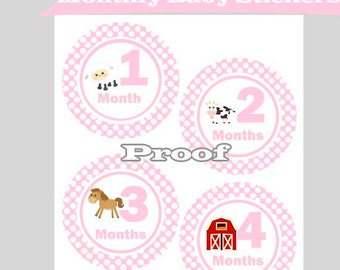 Month Tags, Bodysuit Stickers, Baby Girl Farm Animals, Monthly Bodysuit Tags, Printable File, Instant Download, Monthly Milestone Stickers