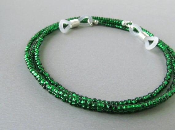 Emerald Green Eyeglass Frames : Emerald Green Glasses Chain Small Beaded Eyeglass Cord