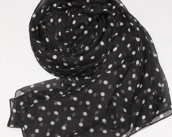 Black Silk Chiffon Scarf with Small Polka Dot Print - White Dot Printed Silk Scarf - AS34