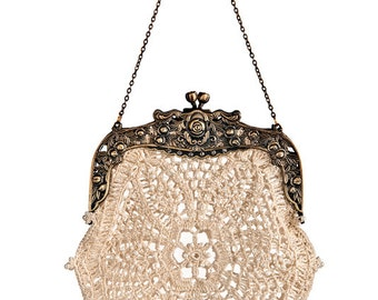 SAMPLE- Bette hand-crochet lace retro purse intricate beaded vintage inspired 20s