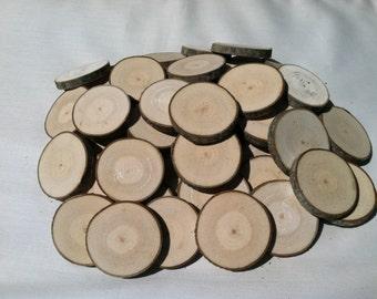 "50 Maple wood slices 2"" - 2 3/8"""