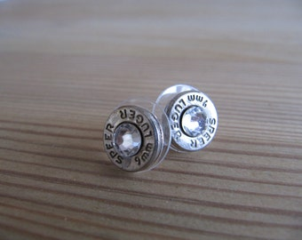 9mm Earrings with Swarovski Crystal Accents - Bullet Jewelry- Small Bullet Earring - Crystal Bullet Earrings - Small Thin Cut - Classic