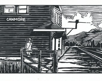 The Wait Linocut Relief Print, Hand Pulled Fine Art, Limited Edition, Printmaking Original