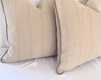 Set of 2: Classic Cloth Tan with Black Stripe Pillow Cover