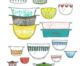 Print -  Retro Kitchen Bowls Mixed Media Artwork