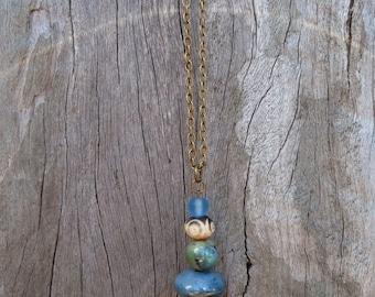 Beaded Blue Green Ceramic Pendant Necklace