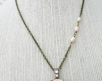 50% OFF Necklace, Pale peach rose and pearl filigree Necklace: No. N91