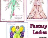 Cloth Doll Pattern Bundle - Three Fantasy theme dolls ready to be made...