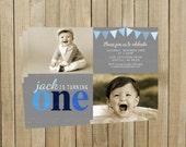 Blue One First Birthday Invitation, Gray and Blue, Boy, Printable, Custom Digital File
