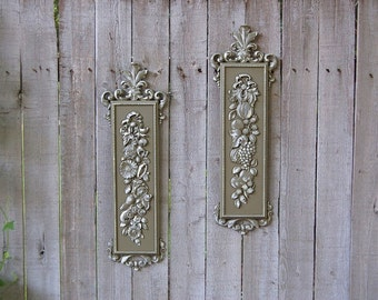 Shabby Chic Wall Decor, Olive, Sage, Green, Vintage, Ornate, Upcycled, Syroco, Hand Painted