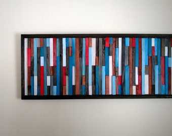 Abstract painting on recycled wood