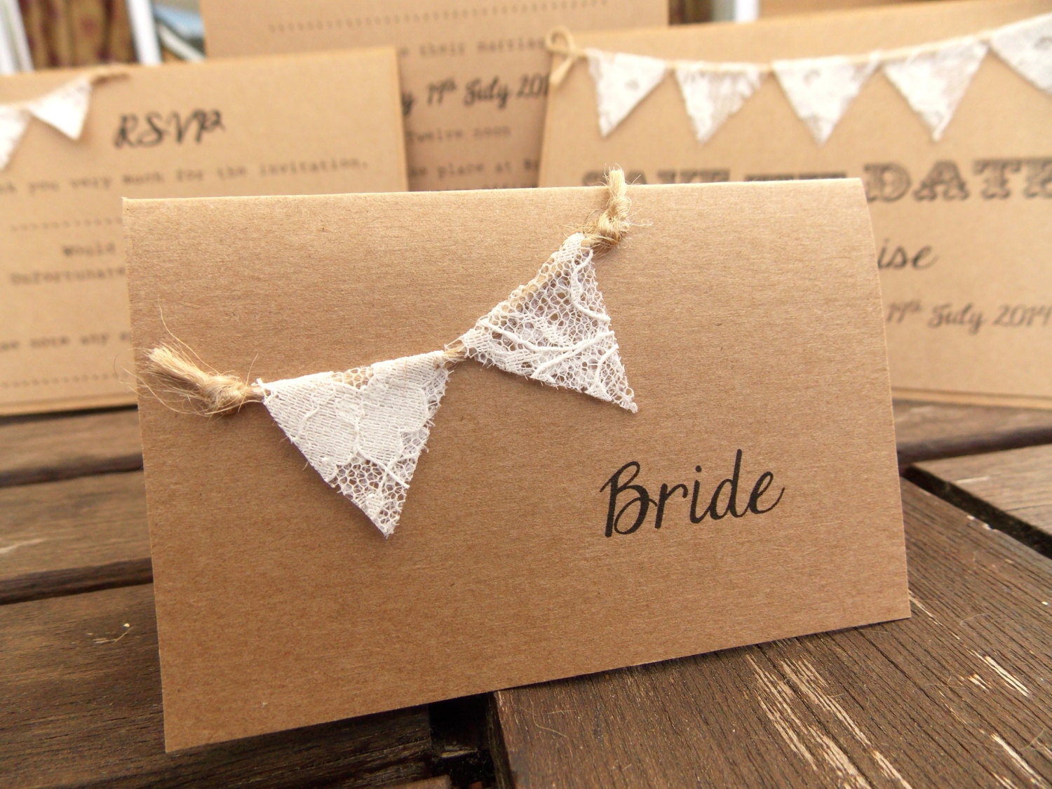 Rustic wedding place card escort cards lace bunting for Place card for wedding