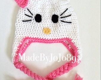 Hello Kitty Crochet Hat, Hello Kitty, Hello Kitty Hat, Beanie