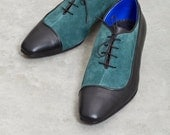 Mens Oxford Shoes - Flat Shoes - Mens Leather Shoes - Mens Shoes - Florian black Leather and deep green suede mens ARAMA shoes