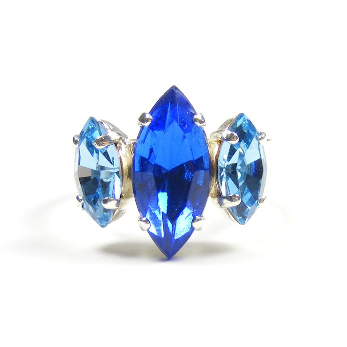 Blue Statement Ring, Vintage inspired Adjustable Art Deco Style Crystal Cocktail Ring with Sapphire Blue & Aqua Vintage Rhinestones