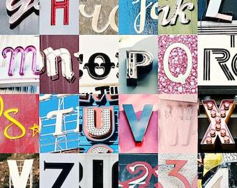 Hollywood, Los Angeles, California, Alphabet Collage, Vintage Style Art, Photographic Print, Kristine Cramer Photography