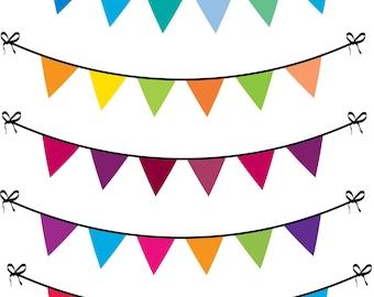 5 Buntings Digital Clip Art for Scrapbooking, 5 Multicolor Buntings Digital Art, Printable
