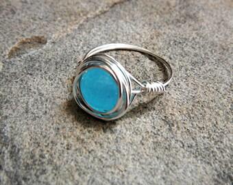 Blue Apatite Ring, Silver Ring, Blue Stone Ring, Wire Wrapped Ring, Blue Ring, Wire Wrapped Jewelry Handmade, Gemstone Ring, Chunky Ring