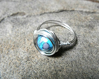 Rainbow Jasper Ring, Wire Wrapped Ring, Blue Stone Ring, Blue Ring, Wire Wrapped Jewelry Handmade, Gemstone Ring, Chunky Ring
