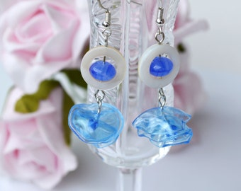 Eco-Friendly blue earring,Recycled,Upcycled