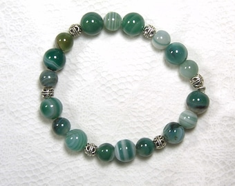 "Cynthia Lynn ""EVERGREEN"" Green Stripe Agate Gemstone Bead Stretch Bracelet 7.5 inches"