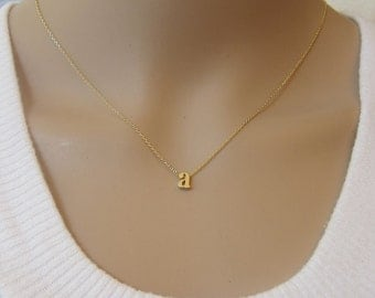 Lowercase Initial Necklace, Gold Initial Necklace, Letter Necklace, Personalize Necklace, Bridesmaid Gift, Birthday gift, dainty Necklace