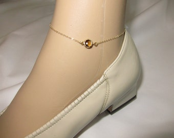 Tiny Smokey quart Anklet, Gold anklet, tiny Gold anklet, delicate anklet, Minimalist ( Also available in other stones ), contemporary