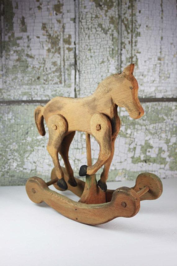 Vintage hand carved wooden rocking horse primitive for Hand crafted rocking horse