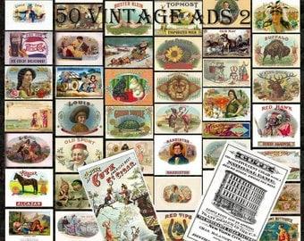 50 Vintage Ads 2 - Digital Scrapbooking Clipart Graphics Vintage Ads