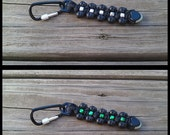 "Handmade 4.5"" Black Skull 550 Paracord Metallic Pony Bead Keychain Dangles Aluminum Screw Closed Carabiner Aerowave GlowInTheDark Cord End"