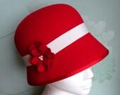 SALE Felt Hat - Womens Hat, Cloche Hat, Felt Cloche Hat, Vintage Style Hat, Red Hat, 1920s