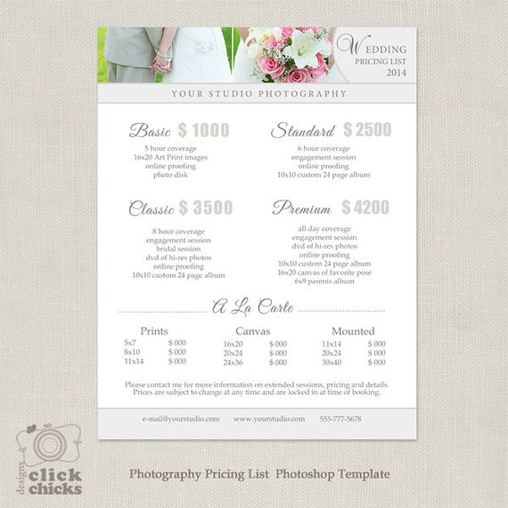wedding photography package pricing list template With wedding photography packages template
