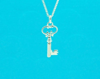 Sterling silver key charm  - fancy smooth 3D key shape charm with .925 sterling silver stamped jumpring - key to your heart - double sided