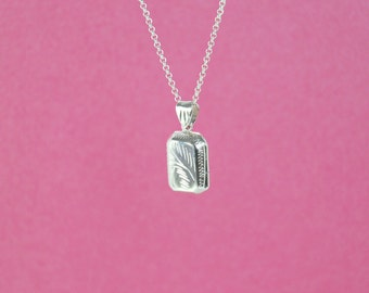sterling silver locket pendant - 3 pcs - rectangular locket - square keepsake locket charm - silver box locket - square sterling pendant