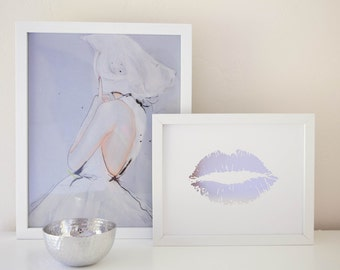 Lippy Lippy Silver Foil Lip Print 8x10, Home Decor, Gallery Wall, Wall Art, Valentines Day, Letterpress