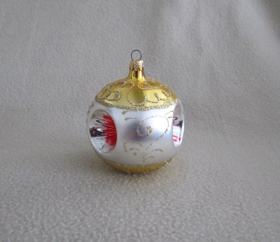 Columbia Christmas Tree: Vintage 1960s Hand Painted Fancy Mold Glass Christmas Tree