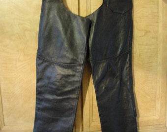 Vintage 80s black leather chaps size medium / Biker / motorcycle / riding / mens / pants 80s 90s 1980s 1990s